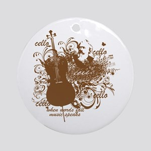Music Speaks Cello Ornament (Round)